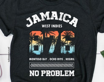 cf4faf552 Jamaican Vacation Gift, Jamaica 876 No Problem T-Shirt, Trip to Jamaica,  West Indies Cruise, Reggae Music Lover, Tropical Vacay Gift