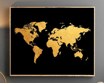 Gold World Map Poster.Gold World Map World Map Wall Art Gold World Map Poster Golden Etsy