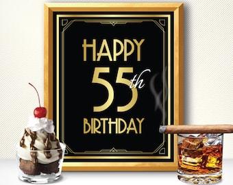 Happy 55th Birthday Decoration Card Great Gatsby Art Deco