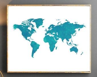 Watercolor world map world map wall art world map poster pink etsy watercolor world map world map wall art world map poster blue world map watercolor wallpaper large world map watercolor map turquise navy gumiabroncs Choice Image