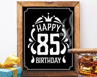 Happy 85th Birthday Decoration 85 Th Card Vintage Chalkboard Jack Daniels Cheers To Years