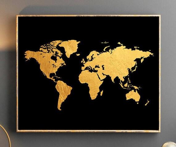 Gold World Map Wall Art.Gold World Map World Map Wall Art Gold World Map Poster Golden Etsy