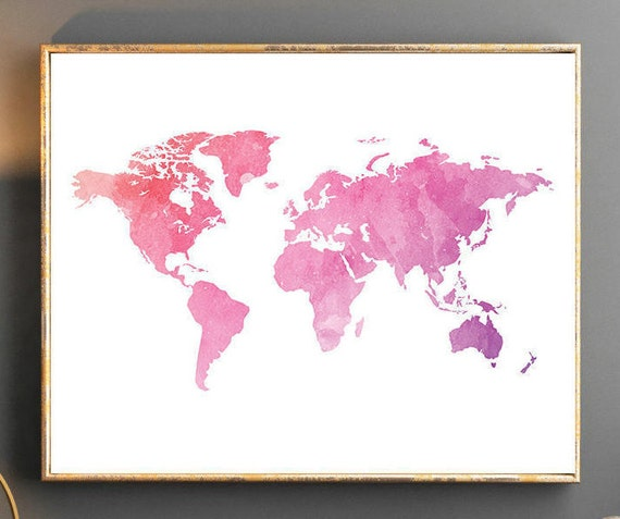 Watercolor world map world map wall art world map poster pink gumiabroncs Images