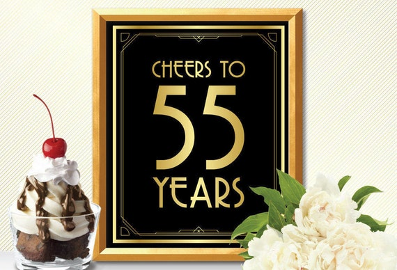 Cheers To 55 Years Happy 55th Birthday Sign