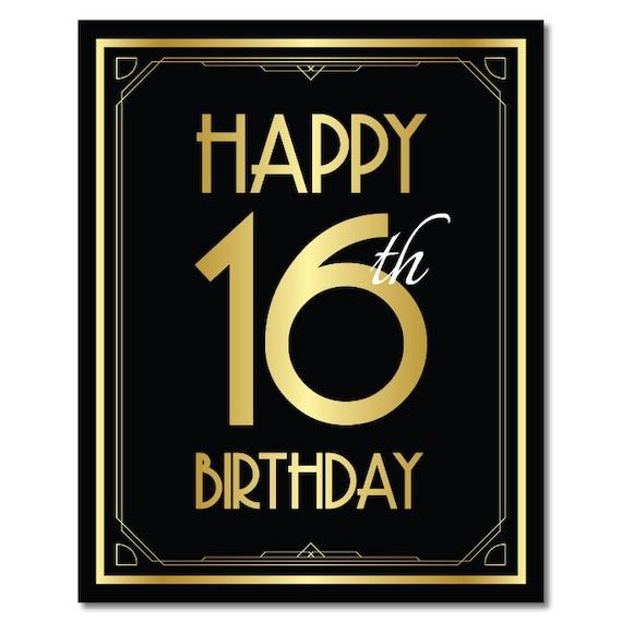 16de Verjaardag.Gelukkige 16e Verjaardag 16e Verjaardag Versiering 16de Verjaardag 16e Verjaardag Card Verjaardag Van De Grote Gatsby Art Deco Verjaardag