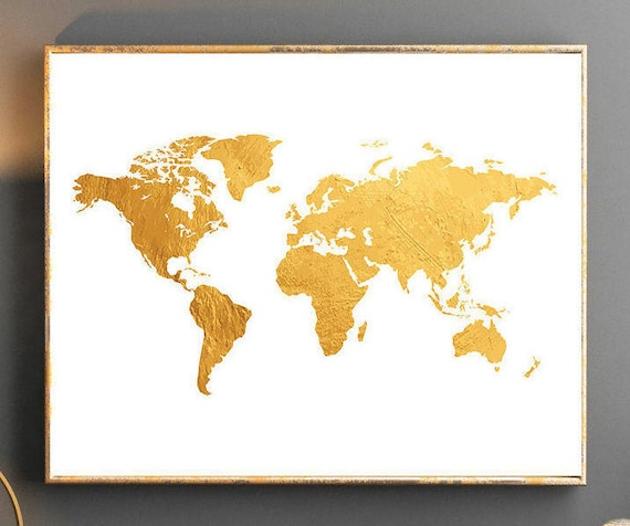 Gold world map world map wall art gold world map poster golden etsy image 0 gumiabroncs Gallery
