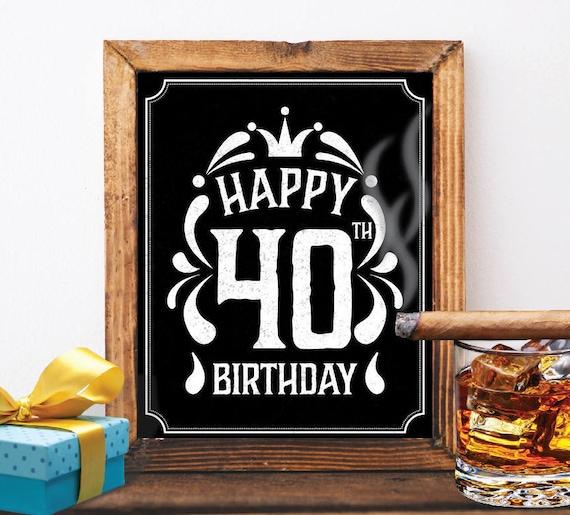 Happy 40th Birthday Decoration 40 Th Birthday 40 Birthday Card Etsy