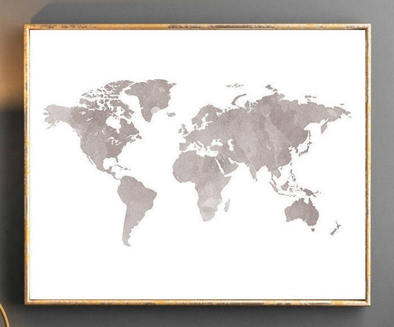 Watercolor World Map Wall Art Poster Grey