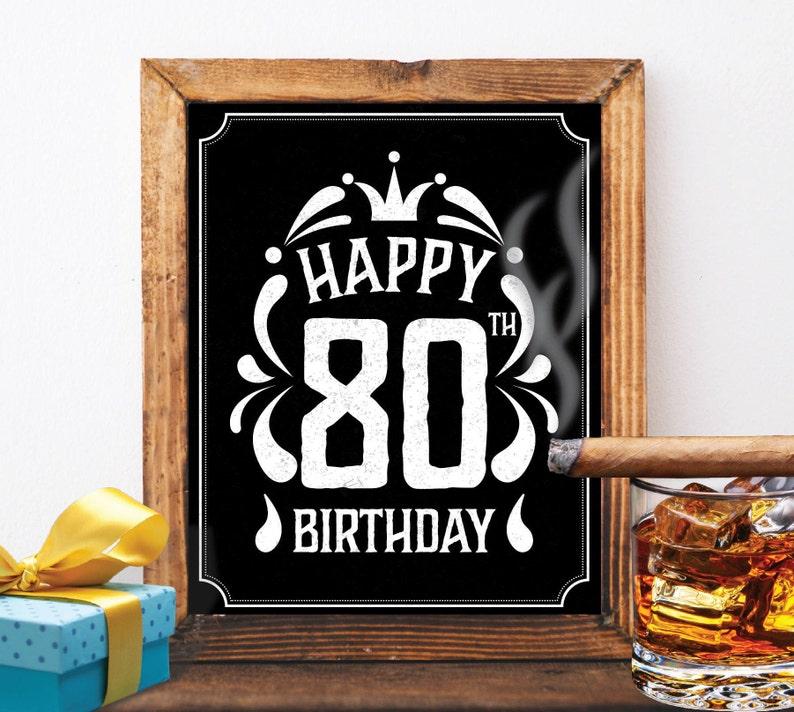 Happy 80th Birthday Decoration 80 Th Birthday 80 Birthday Card Etsy