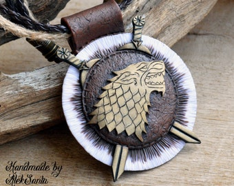 Direwolf pendant Direwolf necklace House Stark pendant House Stark necklace Game of Thrones Necklace Polymer clay jewelry for women Fan gift
