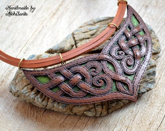 Celtic necklace Elven jewelry Unique necklace Unusual jewelry Brown necklace Statement jewelry Fantasy necklace Fairytale gift Inspirational