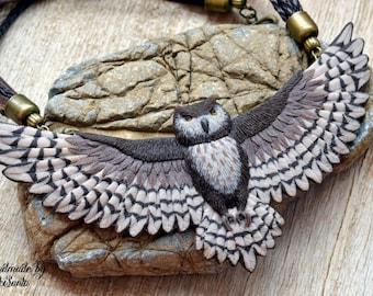 Owl necklace Animal Brown bib necklace Statement jewelry Bird necklace Unique jewelry Unusual necklace Polymer clay jewelry Fairytale Gift