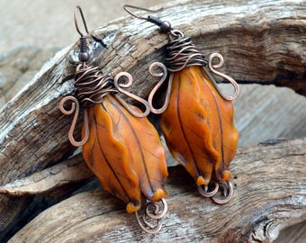 Orange jewelry Dangle earrings Mothers day gift Floral Statement earrings Copper earrings Polymer clay jewelry Fashion earrings for her Drop