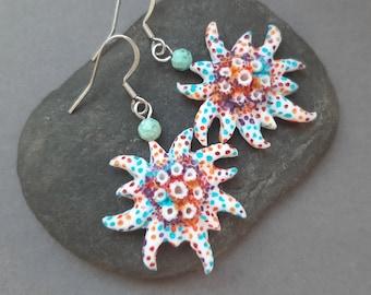 Nautical sea ocean creature earrings Lightweight polymer clay earrings for women Statement summer jewelry
