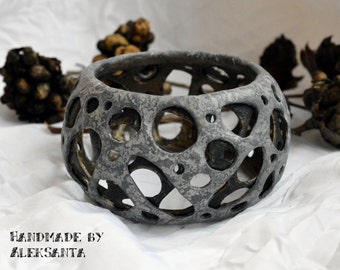 Gray hole bracelet Polymer clay bracelet Polymer clay jewelry Bangle bracelet Cuff bracelet Gray Inspirational Gray cuff Jewelry for women