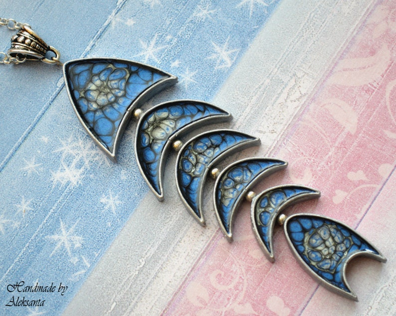 Celestial fish pendant necklace Dark blue and silver statement jewelry Mother gift for her Unique nautical necklace Something blue