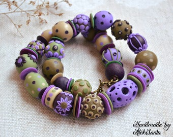 Inspirational Lilac necklace Floral jewelry Polka dot necklace Unique jewelry Unusual necklace Polymer clay jewelry for women Spring jewelry