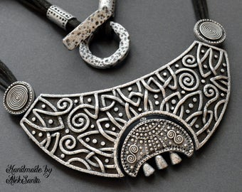 Celestial gift Moon necklace Statement jewelry Celtic necklace Statement necklace Black necklace Gothic necklace Polymer clay jewelry
