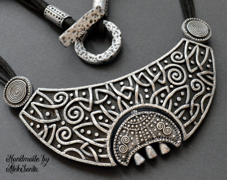 Celestial gift Moon necklace Statement jewelry Celtic necklace image 0