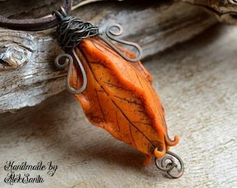 Orange necklace Orange pendant Leaf necklace Leaf pendant Floral necklace Floral pendant Polymer clay jewelry Statement necklace .hba