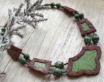 Green bib necklace Brown necklace Leaf necklace Statement necklace Elven necklace Fairytale gift Fall jewelry Polymer clay jewelry for women