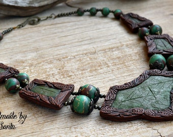 Green necklace Brown necklace Leaf necklace Statement necklace Elven necklace Fairytale gift Bib necklace Polymer clay jewelry for women