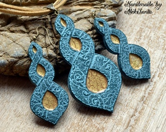 Blue and gold jewelry set Fashion Summer necklace Long dangle earrings Dainty Exclusive jewelry Statement Polymer clay jewelry for women