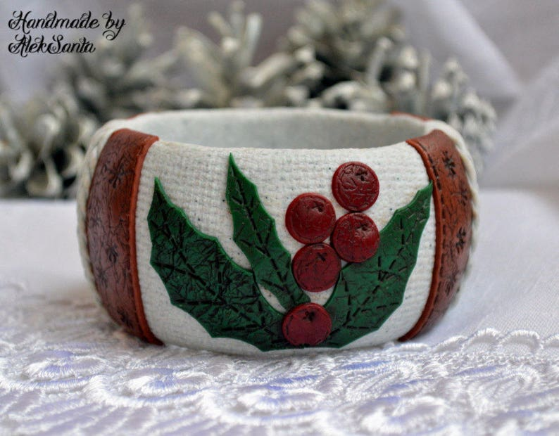 Christmas holly bangle bracelet Polymer clay off white green image 0