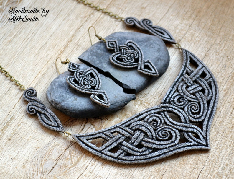Mothers day gift for mom Statement Celtic necklace Long dangle image 0