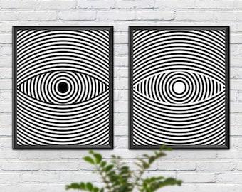 Eye Poster, Set of 2 Prints, Eye Print, Scandinavian Print, Wall Decor, Minimalist Print, Printable Gift, B&W, Instant Download, Modern Art