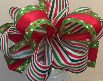 Bow Christmas Colors Large 14 Inches