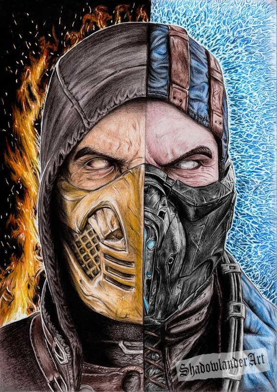 Mortal Kombat Scorpion Vs Sub Zero Drawing Art Etsy