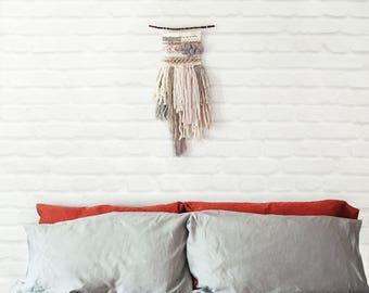 Winter Wonderland | Neutral Woven Wall Hanging | Wool and Silk Ribbon Wall Art | Wall Decor | Handwoven Wall Hanging