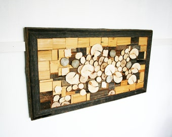 Sun Bleached Reclaimed Wood Marquetry Abstract Sakura Art 52x98 cm Wood Decor Cherry Blossoms 20.5x38.5 in Handmade Unique Art