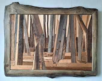 Morning , IMgalery,Medinieks,Reclaimed wood art,Wooden Marquetry,Unique Wall Decor,Mossaic from weathered wood surfaces, Wood with story