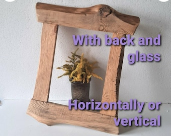 CUSTOM SIZING Live edge Frames in natural Reclaimed wood colors,Rustic Style Frames, Wall Hanging frames ,Made using reclaimed wood
