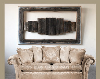 """Reclaimed Wood Wall Art, 55x35.5""""in (140x90 cm), Marquetry, Original Large Wall Art, Rustic Decor, Barn wood decor, Large frame, IMgalery"""