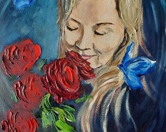 Original Oil Painting, GN12, 11.6X16.5 in, Girl portrait, Romance Oil Painting,Painted Wall decor, Original gift, Ilmars Medinieks, IMgalery