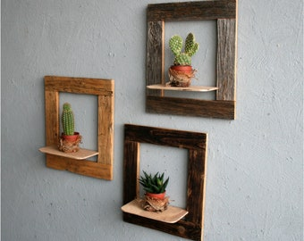 Set of three Open frames,  Reclaimed Wood Original frames, Rustic Style Frames, Wall Hanging Rustic decor, Open Frame with shelf