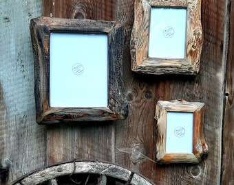 CUSTOM SIZING Live edge Frames in natural Reclaimed wood colors,Rustic Style Frame, Wall Hanging frames, Made using reclaimed wood