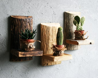 Set of three 4x8.5in(10x22cm)SMALL FLOATING Shelves,Rustic Reclaimed Wood,Succulent Planter,Succulent Wall Planter,Candle Holder,Wall Shelf