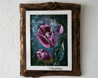 """Original Oil Painting 11.5""""x8""""inc, Framed in Original Reclaimed Wood Frame,Palette Knife Art,Original Gift For Mum,Gift For Her,Tulips Art"""