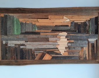 Moony night, IMgalery,Medinieks,Reclaimed wood art,Wooden Marquetry,Unique Wall Decor,Mossaic from weathered wood surface,Wood with story