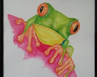 Leaping Frog - Original fine Art illustration.