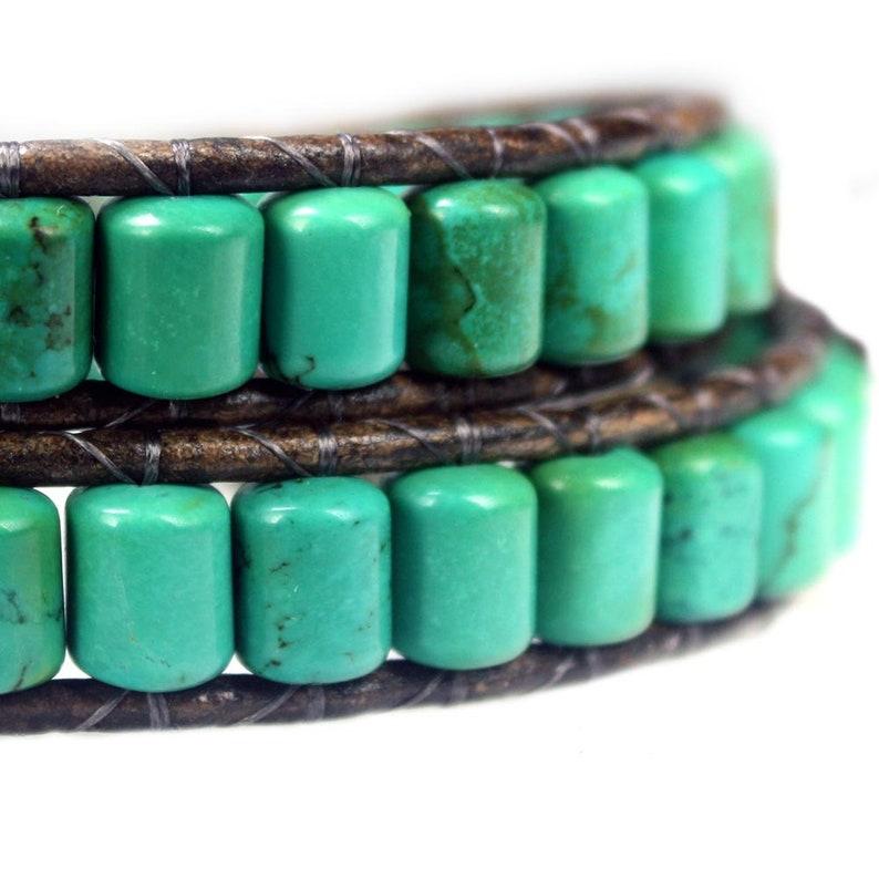 Bela Donaco-wrap bracelet Bohemian Green B6 \u2013 Green \u2013 Turquoise \u2013 Sterling Silver \u2013 Leather-701