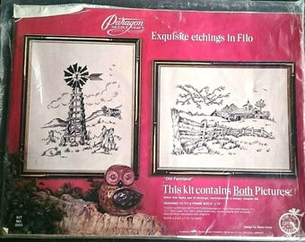 Paragon Needlecraft Old Farmland Etchings in Filo Embroidery Kit Vintage 1975