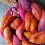 Hand dyed  Polworth /Alpaca/Silk  blend 100g . Azaleas
