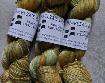 Hand dyed sock yarn 100g . September