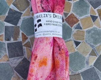 Hand dyed sock yarn 100g .Rose  Garden OOAK .Single stranded sock blank