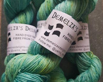 Hand dyed sock yarn 100g . Shoreline